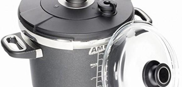 AMT Induction Pressure Cooker SET – 4.5Liter, Pot 22cm, Lid022Sk  + Glass Lid 22cm